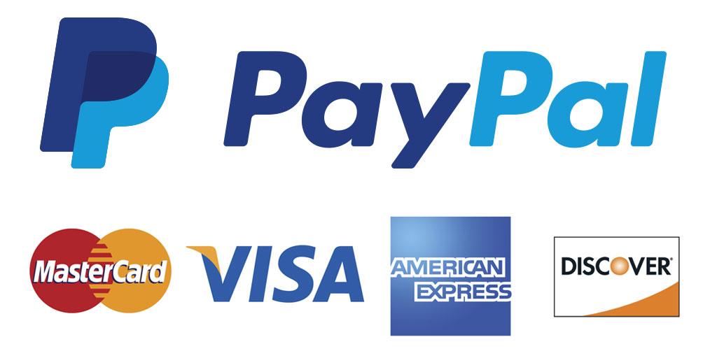 PayPal payments accepted, Visa, MasterCard, AMEX